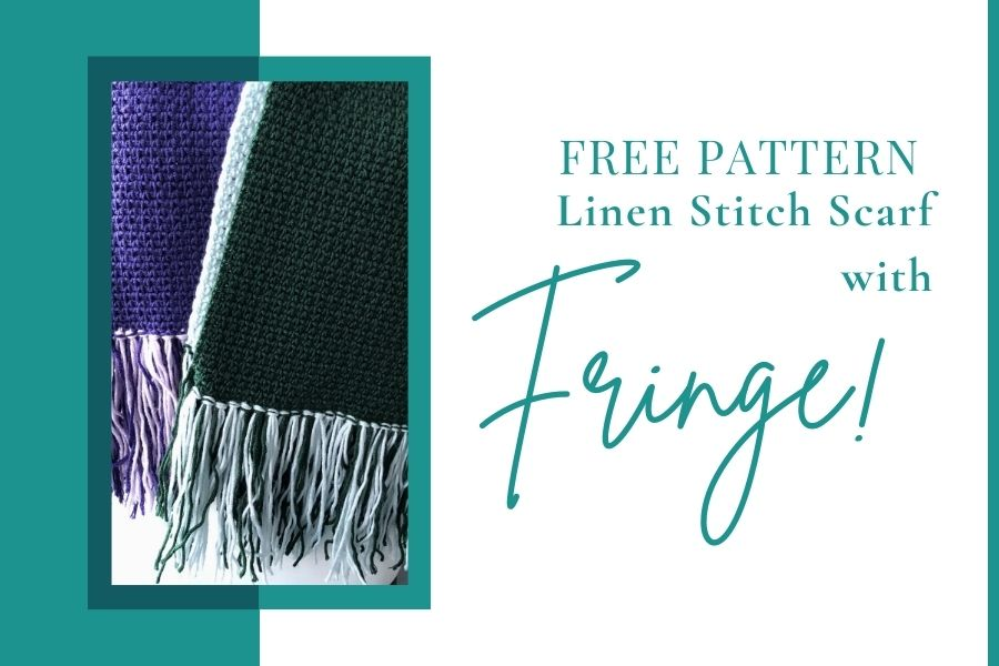 Easy Linen Stitch Scarf with Fringe crochet pattern