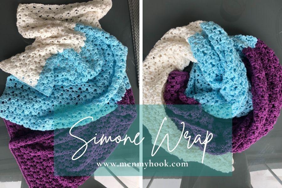 Crochet rectangle shawl pdf pattern - Simone Wrap