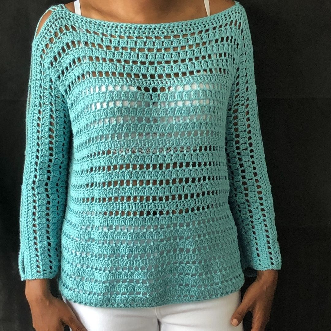 Easy crochet pullover sweater pattern - Key West Pullover