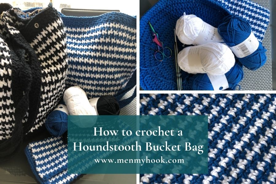 How to crochet a houndstooth bucket bag pattern