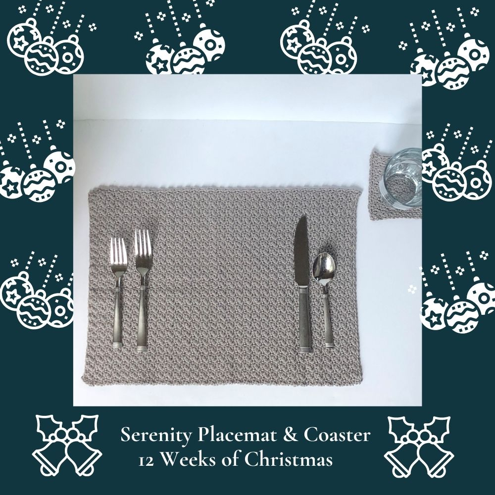 Crochet Christmas gift ideas pattern - Serenity Placemat and Coaster Set