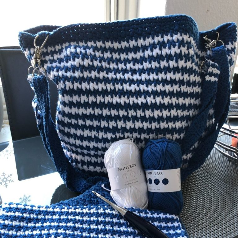 How to make a crochet houndstooth bucket bag pattern