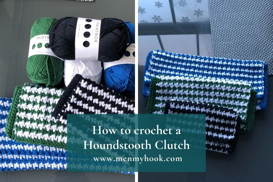 How to create an easy crochet houndstooth clutch bag pattern